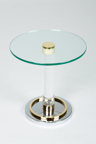 Brass and Glass Side Table by Charles Hollis Jones
