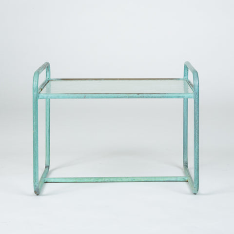 Bronze End Table with Hammered Glass Top by Walter Lamb for Brown Jordan