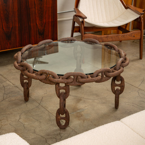 Vintage Round Iron Chain Link Glass Coffee Table