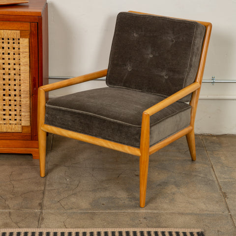 T.H Robsjohn-Gibbings Lounge Chair for Widdicomb in Gray Mohair