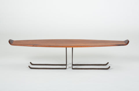 Bronze and Walnut Coffee Table by Leland Swennes