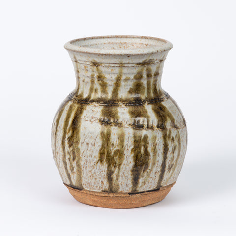 Studio Ceramic Stoneware Vase/Vessel with Vertical Striation