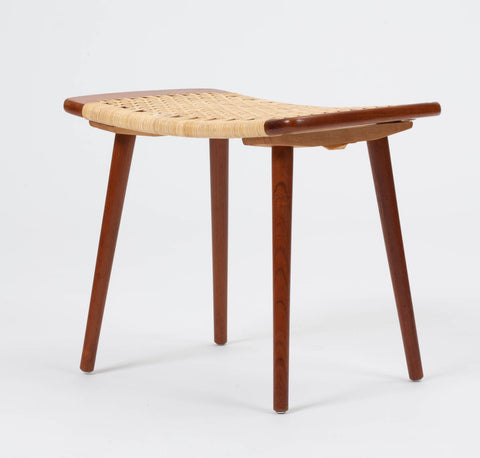 Danish Cane and Teak Stool or Ottoman