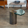 Karl Springer Postmodern Cantilevered Glass Side Table