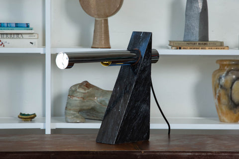 Robert Sonneman Chrome and Marble Table Lamp