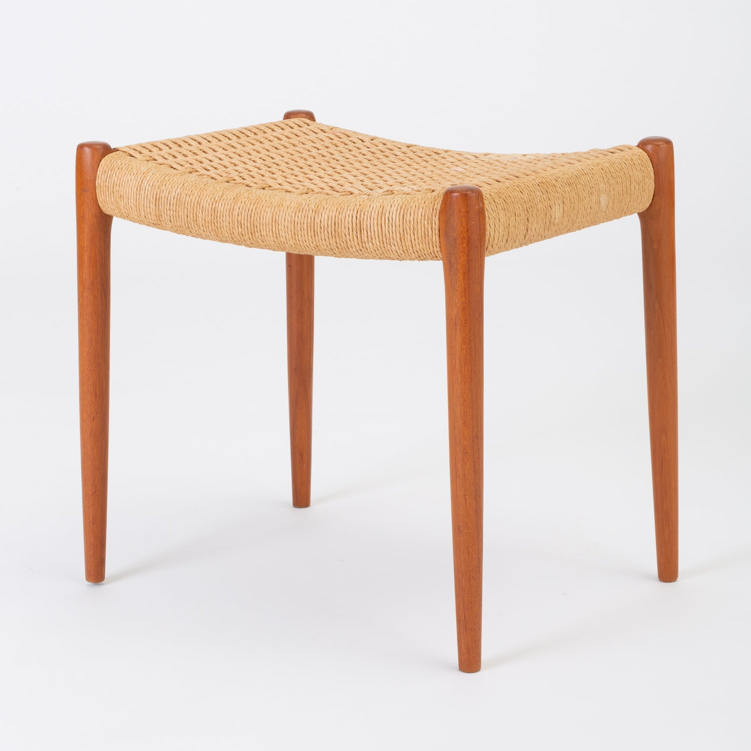 Teak Model 80A Ottoman by Niels Møller with Danish Cord Seat