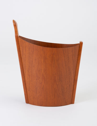 Asymmetric Teak Waste Basket by Westnofa