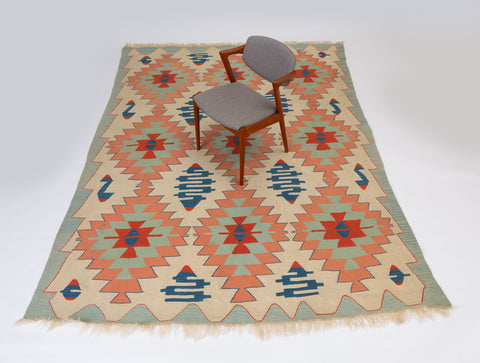 Vintage Neutral-Tone Kilim Area Rug