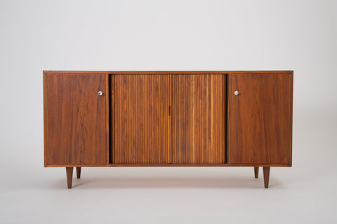Walnut Credenza with Tambour Doors by Milo Baughman for Glenn of California