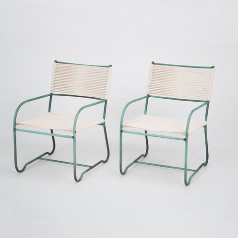 Pair of Early Production Walter Lamb Lounge Chairs with Feet