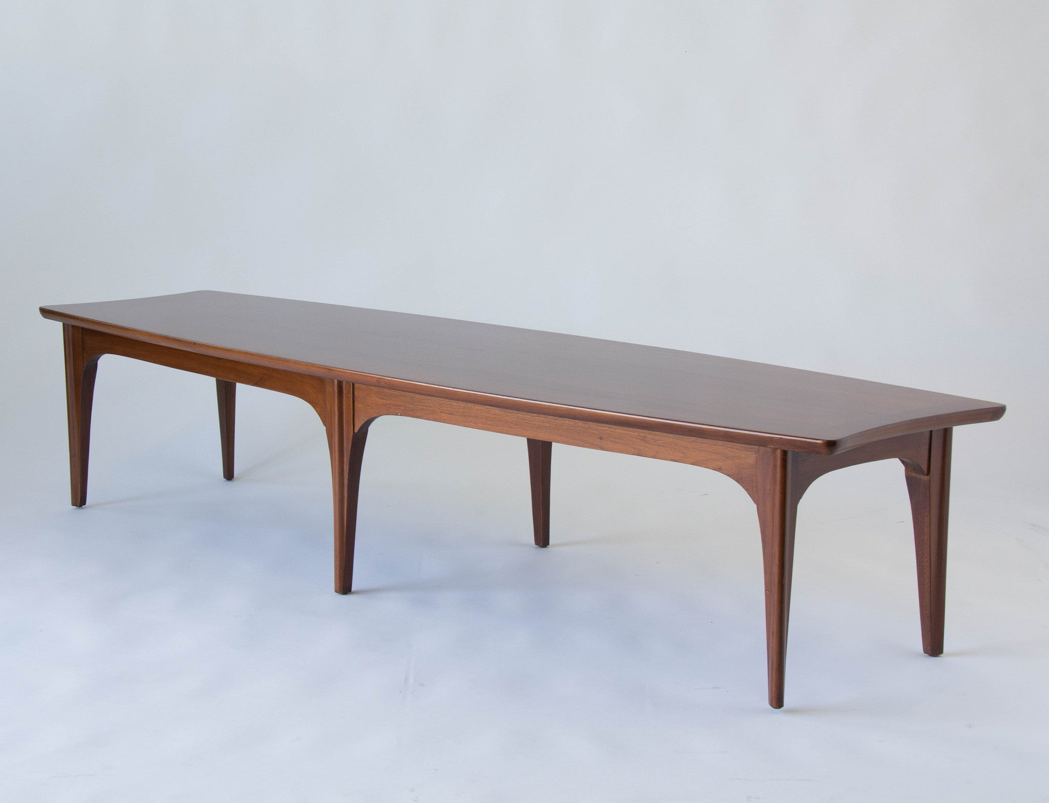 american made surfboard coffee table in walnut and rosewood – den