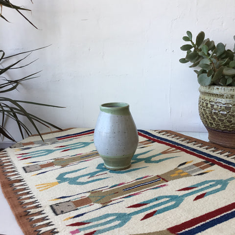 Grey and Green Ceramic Studio Pottery Vase