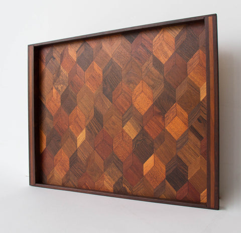Rosewood Tray with Geometric Inlay by Don Shoemaker for Señal