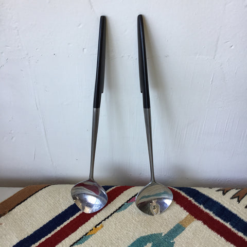 Serving Spoon & Fork Mid Century Modern Forged Stainless by Epic Japan
