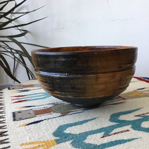 Large Orange Ceramic Studio Pottery Bowl