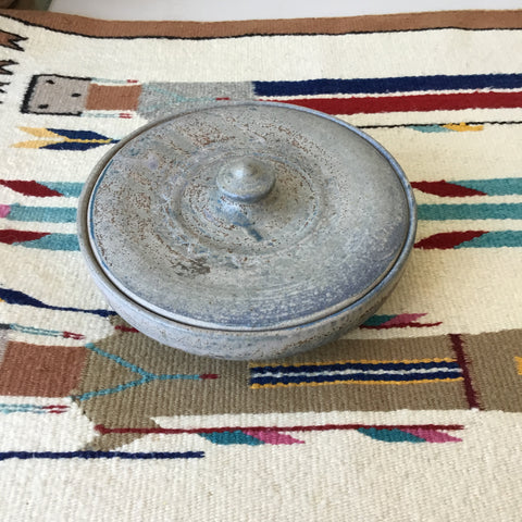 Short Grey Serving Bowl With Lid Ceramic Studio Pottery