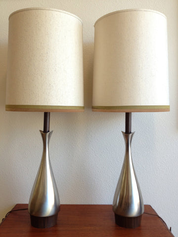 Atomic Era Pair of Pewter Lamps