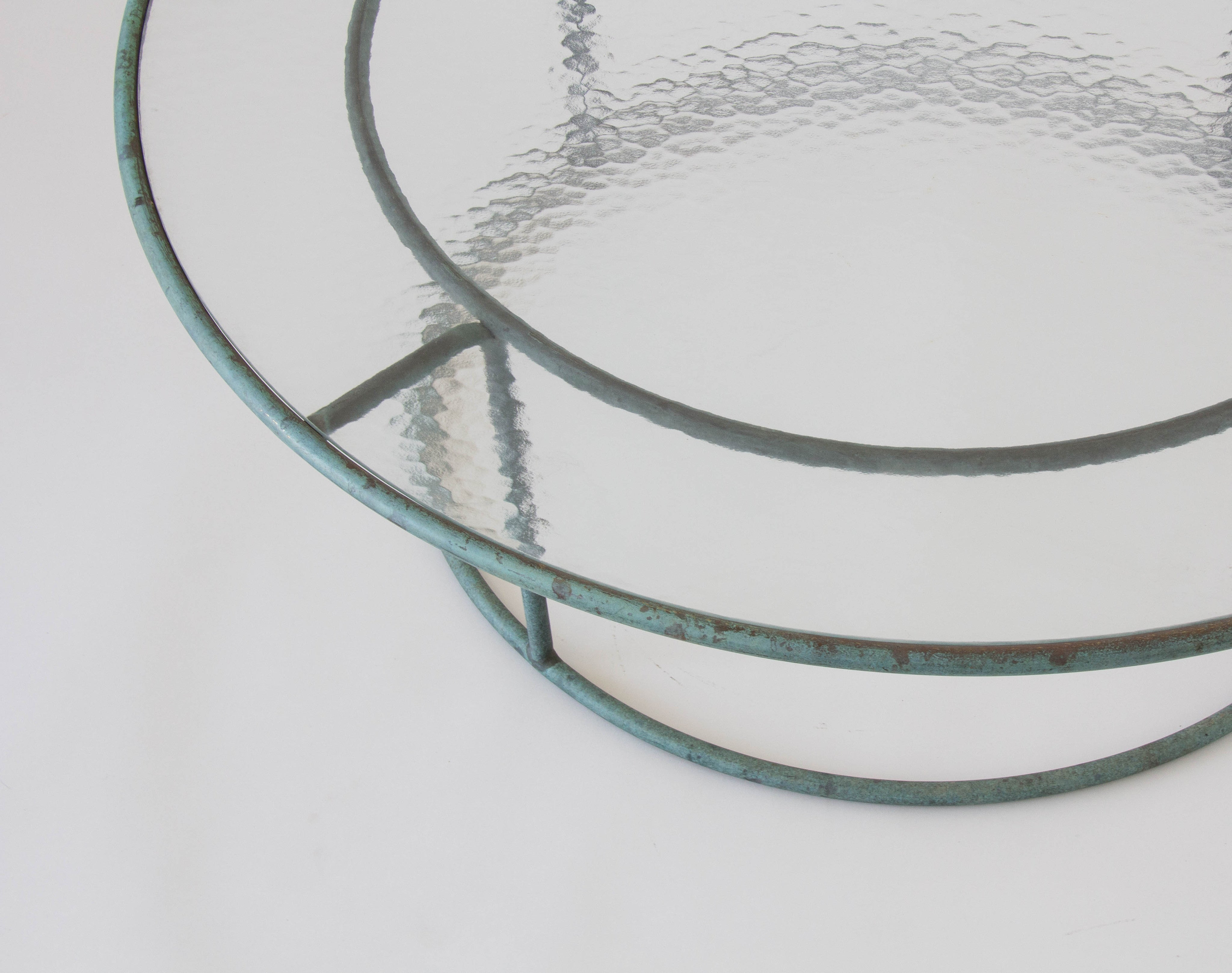 walter lamb round coffee table with hammered glass top u2013 den møbler