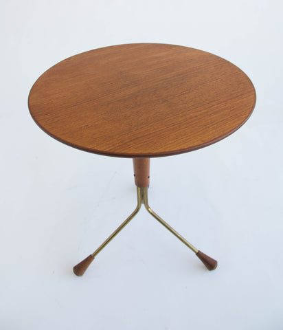 Brass and Teak Side Table by Albert Larsson