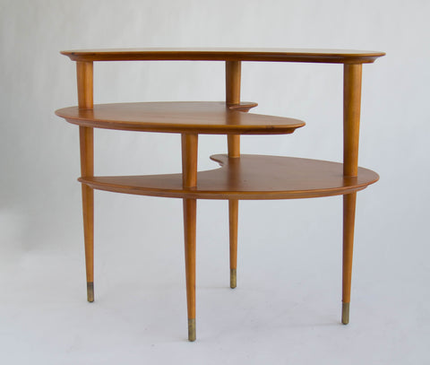 Biomorphic Three-Tier Table by John Keal for Brown Saltman