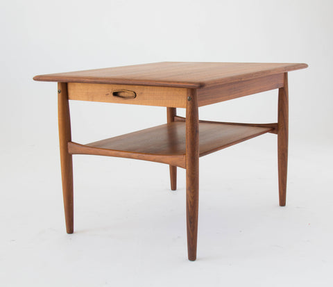 Danish Modern Side Table with Shelf and Drawer