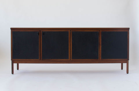 Modernist Credenza with Leather-Paneled Doors