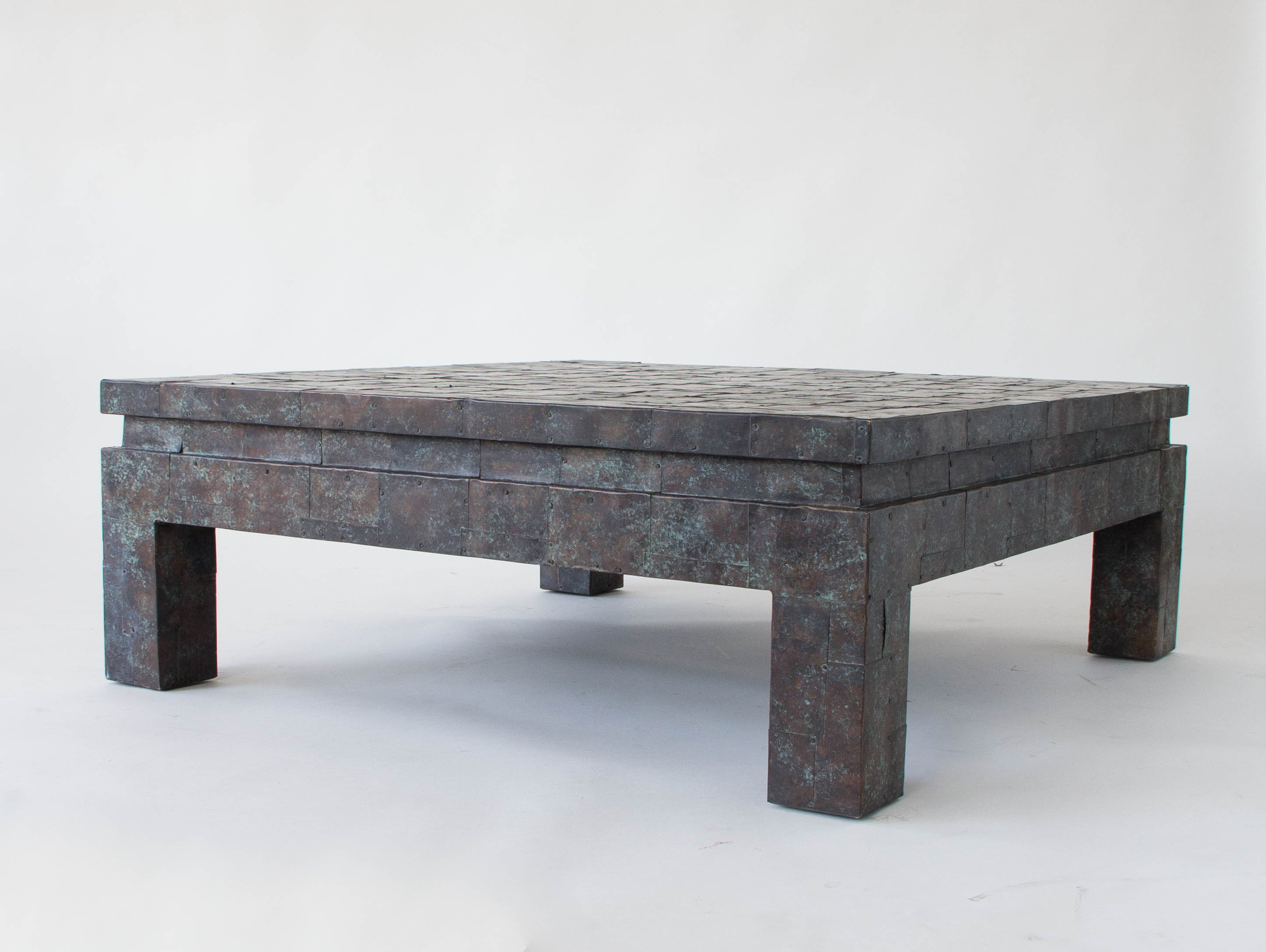 Square Coffee Table With Copper Patchwork Finish By Maitland Smith