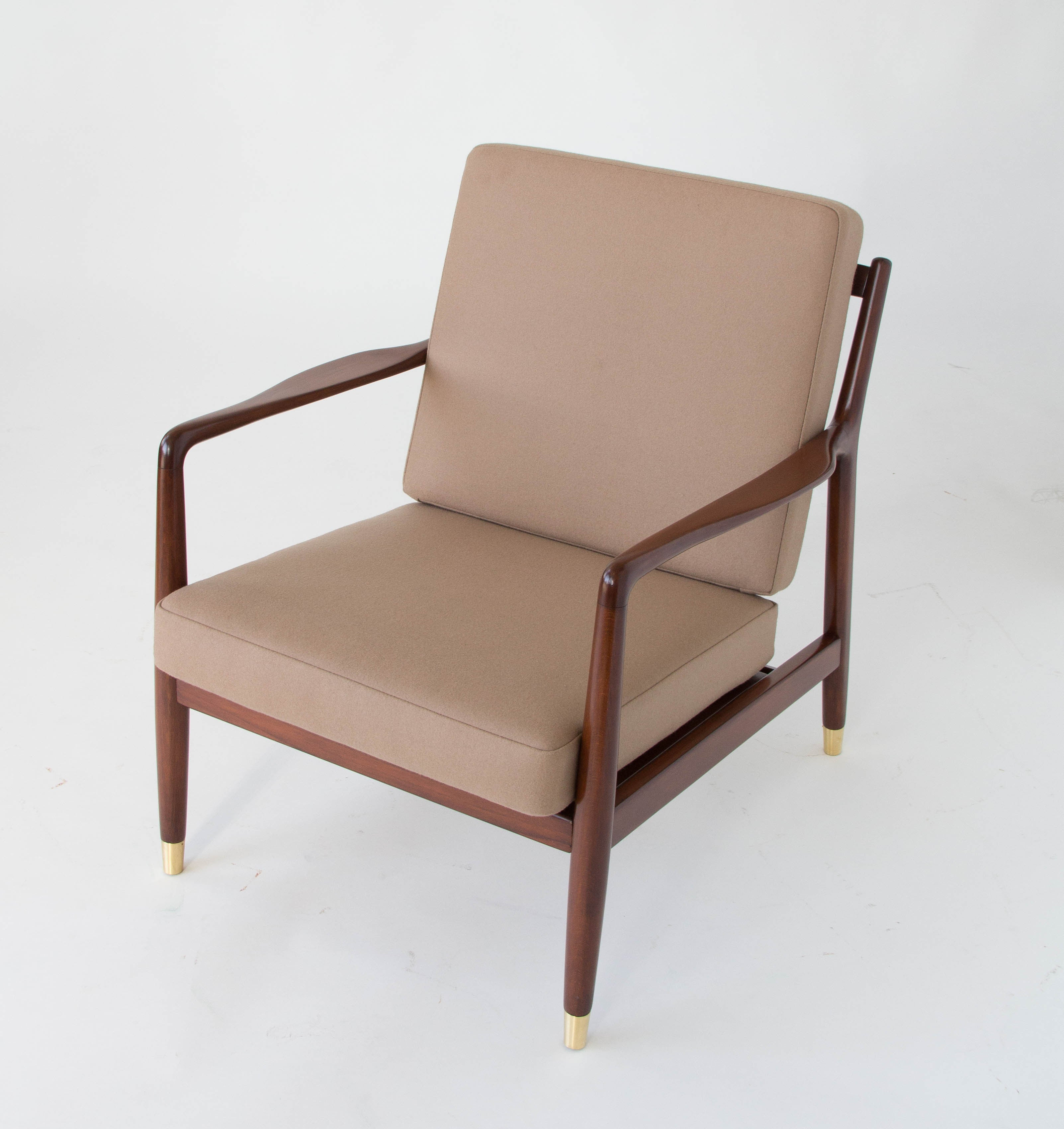 Pair of Lounge Chairs with Brass Capped Legs by Folke Ohlsson for
