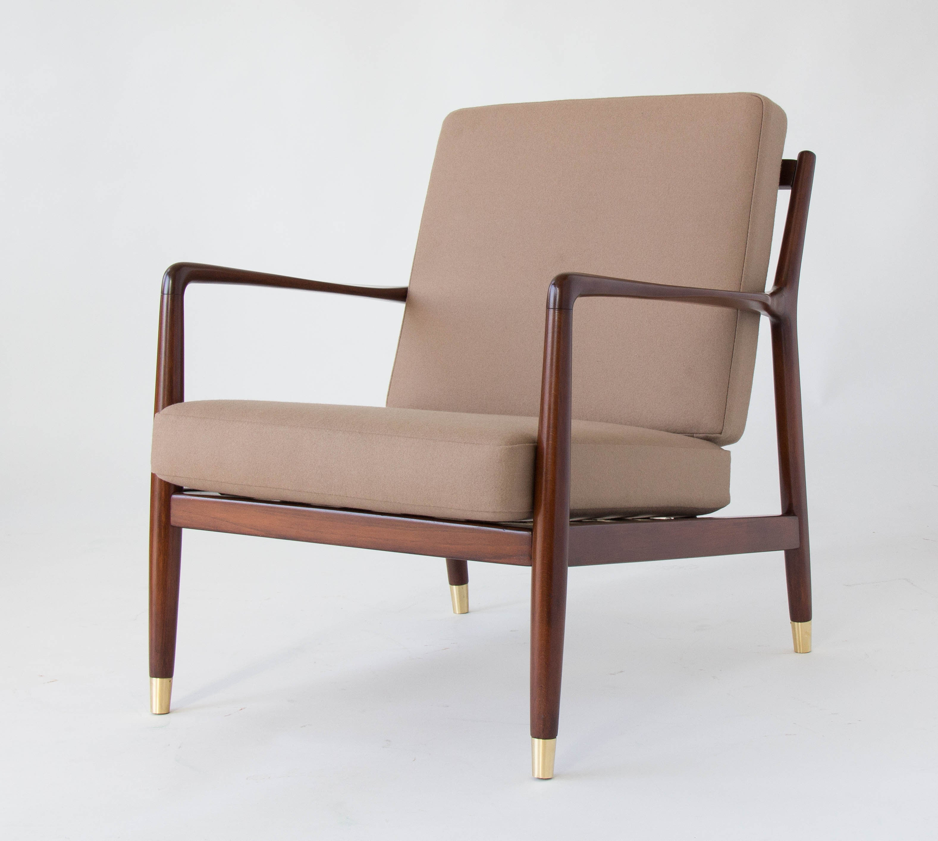 Pair Of Lounge Chairs With Brass Capped Legs By Folke Ohlsson For DUX
