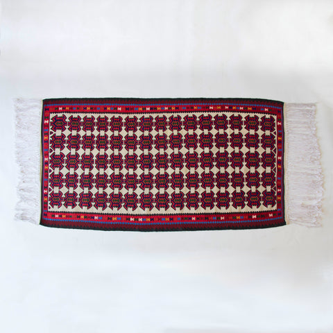 Turkish Jewel Toned Kilim Rug with Long Tassel
