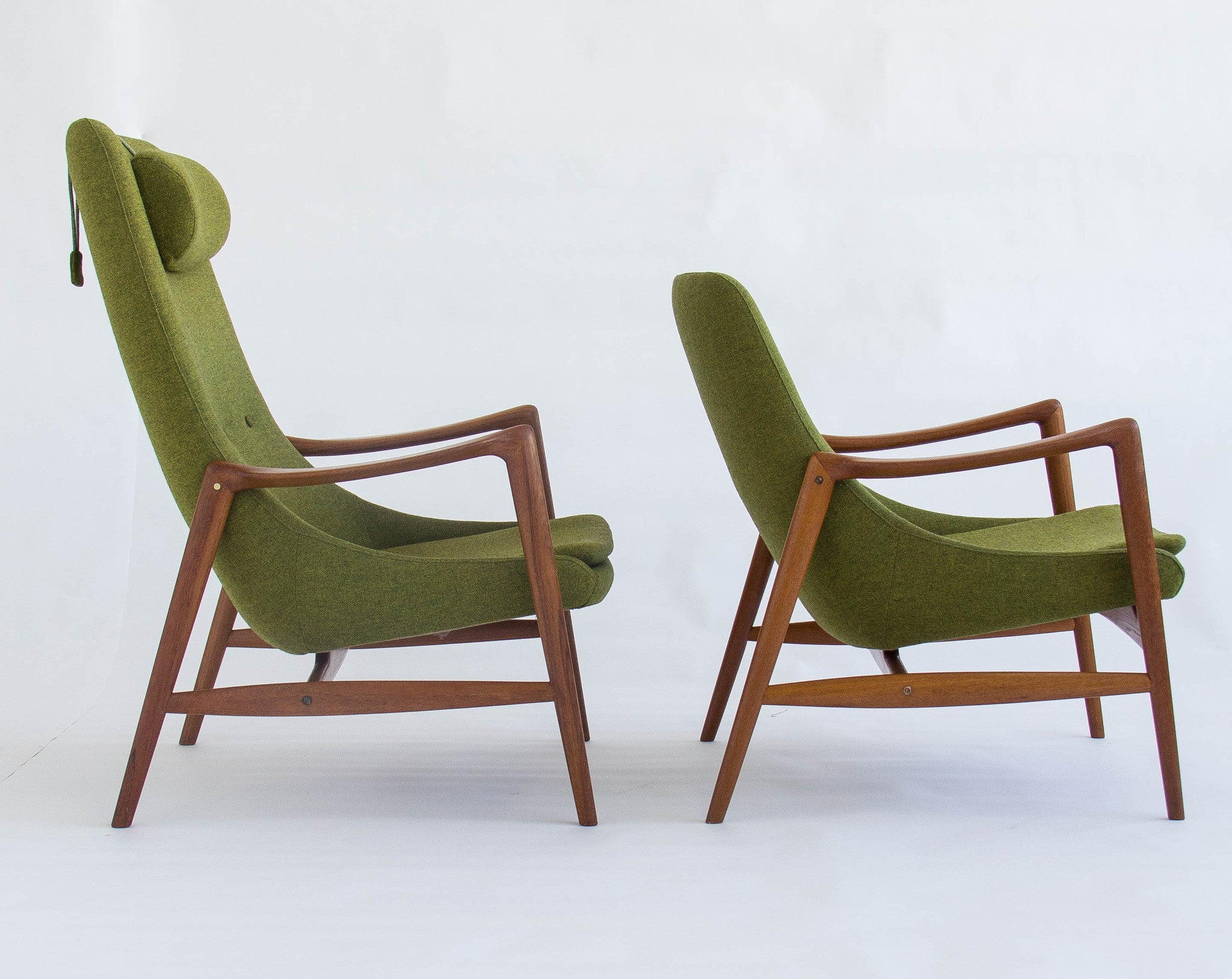 All Original Danish Pair of Teak Rastad and Relling Lounge Chairs