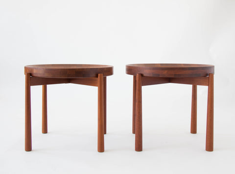 Pair of Solid Teak Tray Tables by DUX