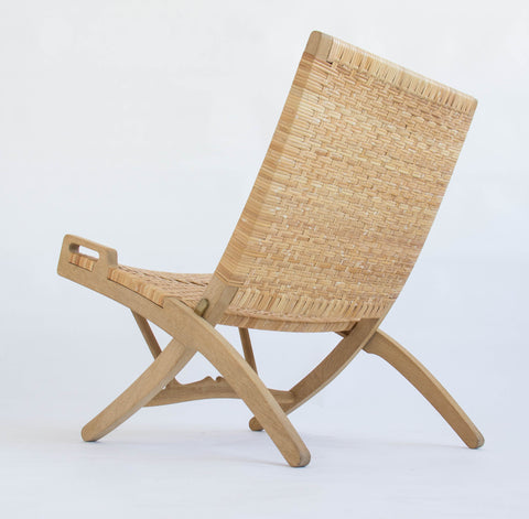 Pair of Oak and Cane Folding Lounge Chairs by Hans Wegner for PP Møbler
