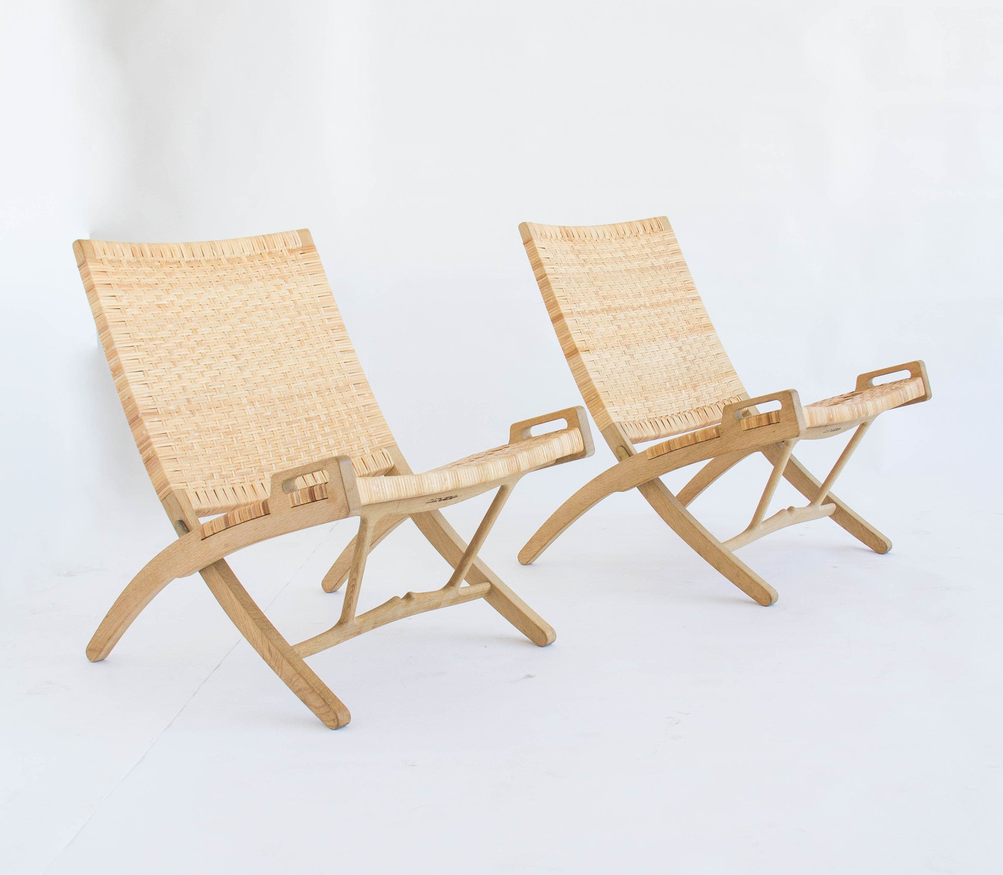 Pair of Oak and Cane Folding Lounge Chairs by Hans Wegner for PP ...
