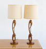 Pair of Walnut and Brass Table Lamps