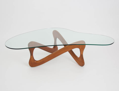 Biomorphic Glass Coffee Table with Wooden Loop Base