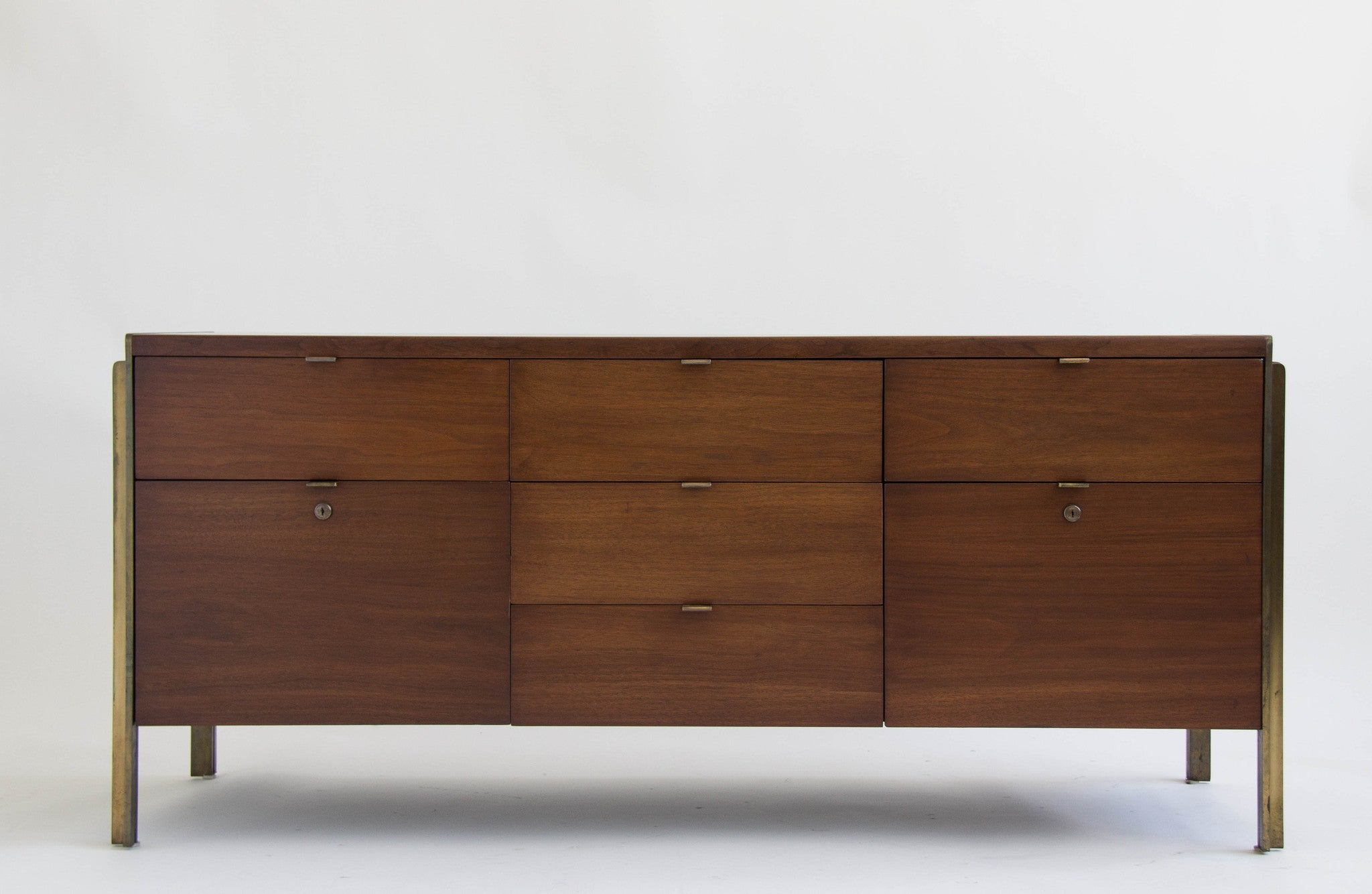 American Made Walnut and Brass Credenza by Stow Davis