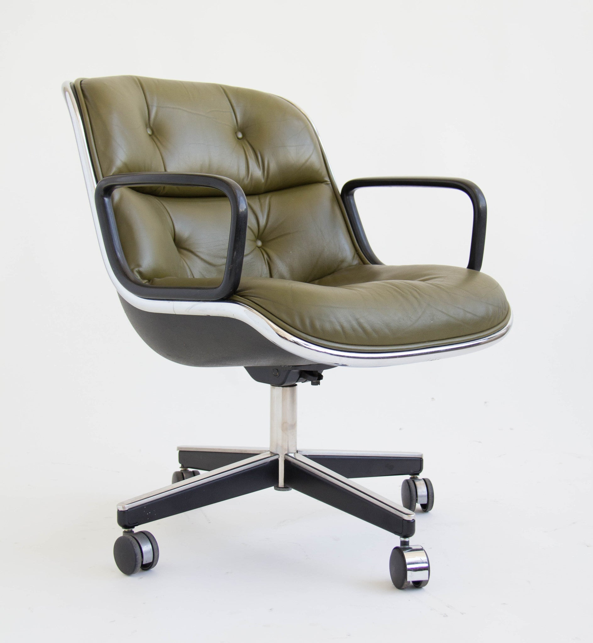 Green Leather fice Chair by Charles Pollock for Knoll – Den M¸bler