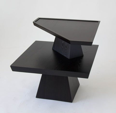 Brutalist Two-Tiered End Table with Ebonized Finish