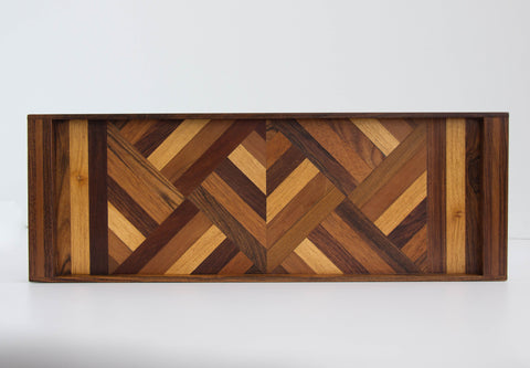 Don Shoemaker Rosewood Serving Tray with Wood Inlay