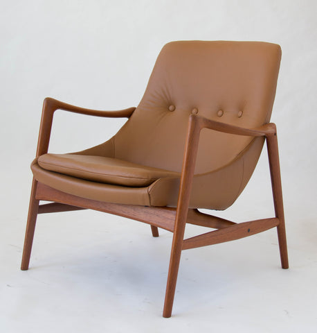 Pair of Norwegian Leather Lounge Chairs by Rastad & Relling