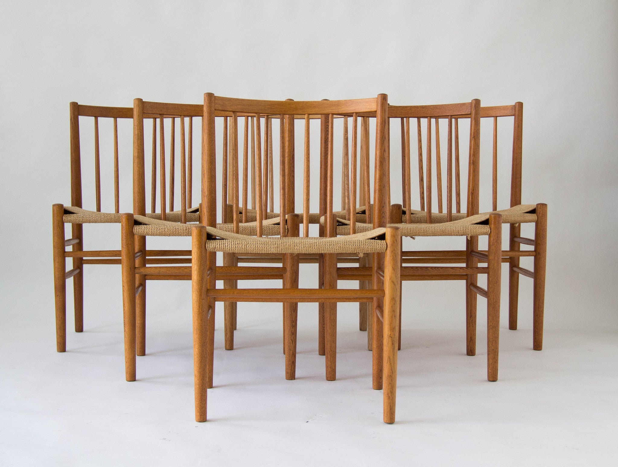 Six Spindle Backed Oak and Danish Cord Dining Chairs – Den M¸bler