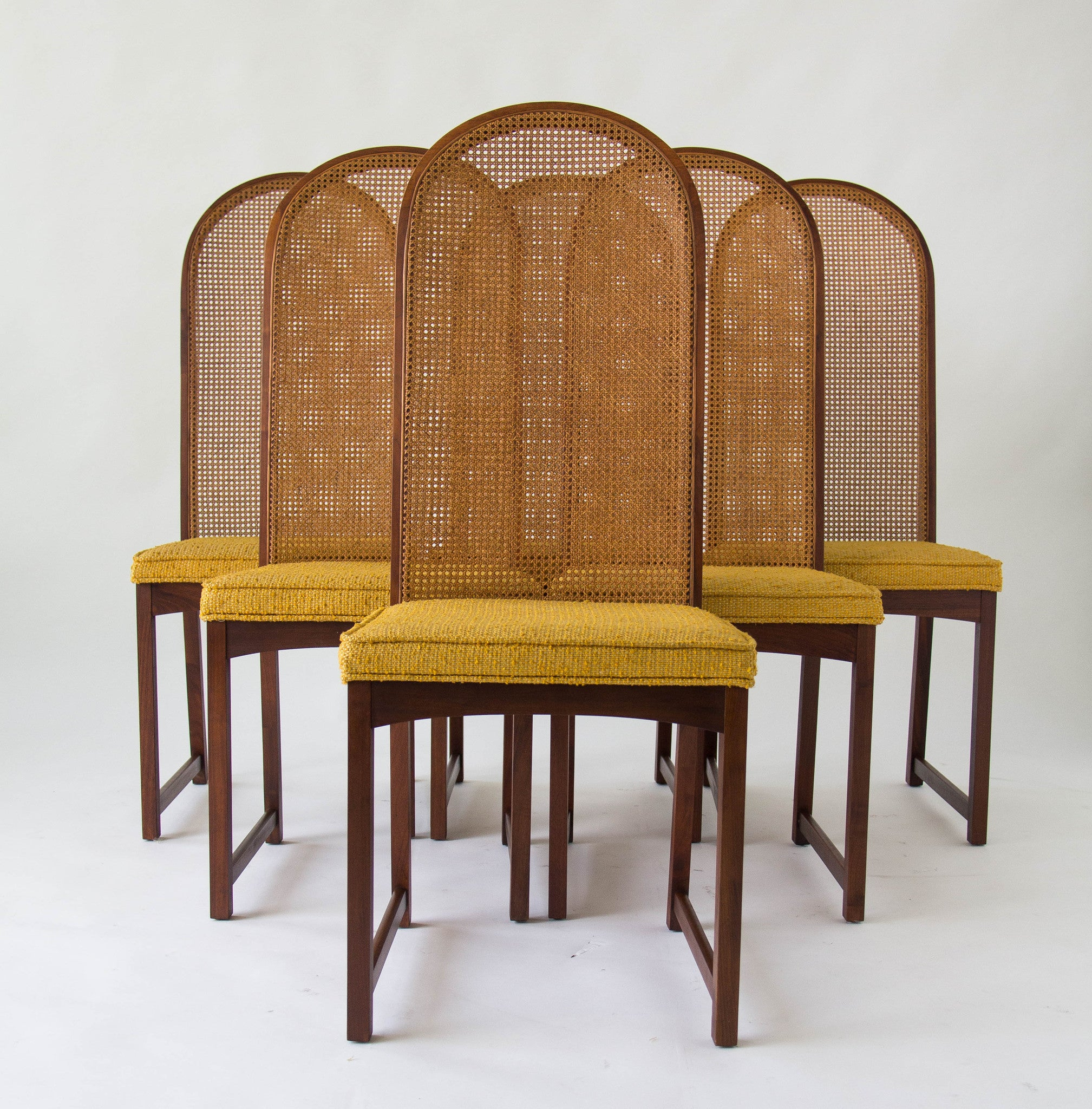 Marvelous Set Of Six High Backed Cane Dining Chairs By Milo Baughman