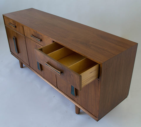 Cal-Mode Walnut Credenza with Inlaid Handles