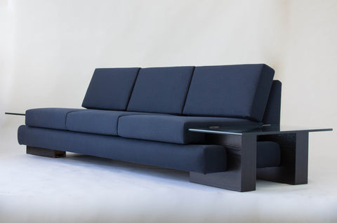 ON HOLD****American-Made Sofa with Glass End Tables
