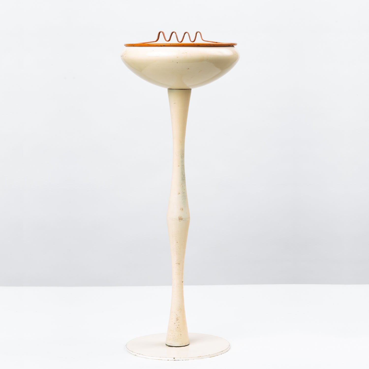 Standing Ashtray by Estelle + Erwine Laverne for Laverne Originals; Orange Colored Tray