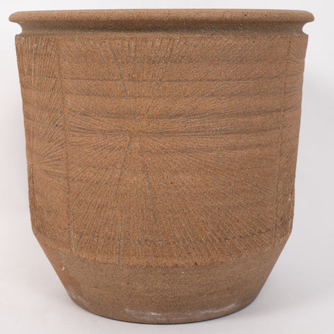 "Robert Maxwell Studio Pottery Planter with Incised ""Sunburst"" Detail"