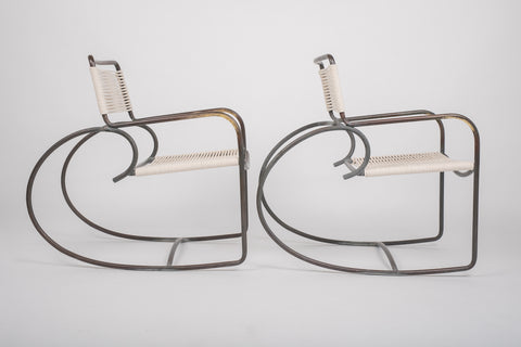 ON HOLD****Pair of Walter Lamb Bronze Patio Rocking Chairs for Brown Jordan