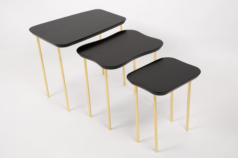 Charak Modern Set of Three Nesting Tables in Lacquered Mahogany and Brass