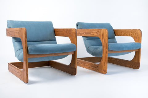 Pair of California-Designed Lounge Chairs by Lou Hodges